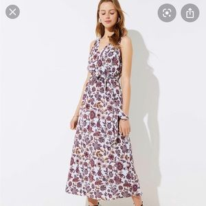 Size L, blue floral Ann Taylor LOFT maxi dress.